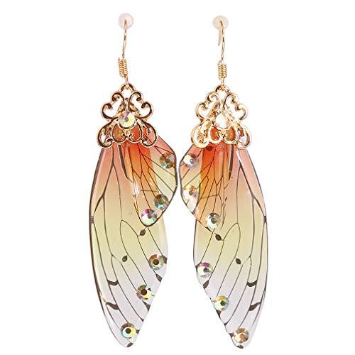 Weisin Pendientes largos con alas de mariposa para mujer, diseño de mariposa, color naranja