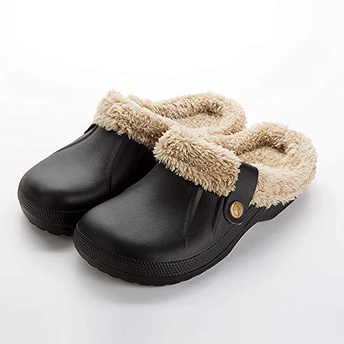 YFWJD Zuecos de Las Mujeres Impermeable Cálido Zapatilla de los Hombres Zuecos en los Zapatos de jardín Zuecos de Piel en los Tobillos Chanclas de Invierno,Black 2,44~45
