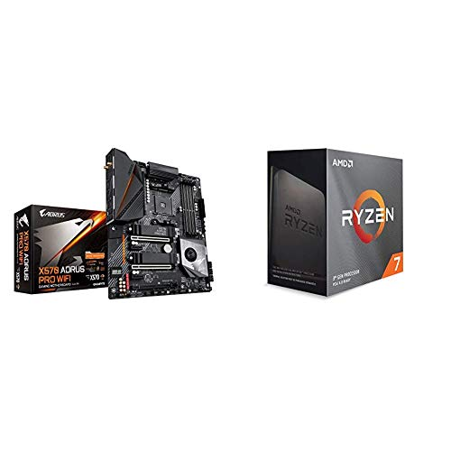 GIGABYTE X570 AORUS PRO Wi-Fi (AMD Ryzen 3000/X570/ATX/PCIe4.0/RGB Fusion 2.0/2xM.2 Thermal Guard/Gaming Motherboard) with AMD Ryzen 7 3800XT 8-core, 16-Threads Unlocked Desktop Processor