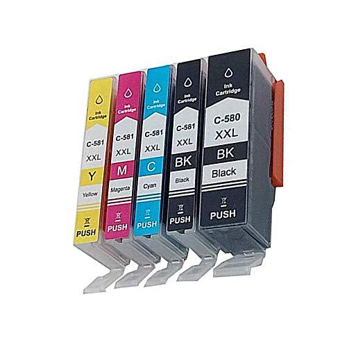 KATRIZ 5 stuks (1PGBK 1BK 1C 1M 1Y) vervanging voor Canon PGI-580XXL CLI-581XXL inktpatronen compatibel voor Canon PIXMA TS6151 TS6150 TR7550 TR8550 TS6250 TS6251 TS9551 TS9550 printer