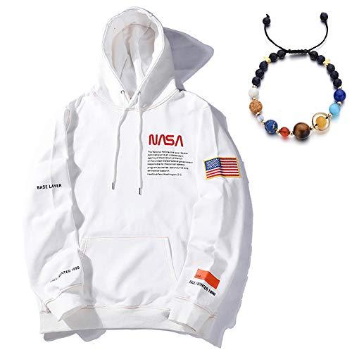 W&TT NASA Print Hoodie Sweatshirt mit Känguru-Tasche lose Baumwolle Baseballuniform für Männer und Frauen,Weiß,L