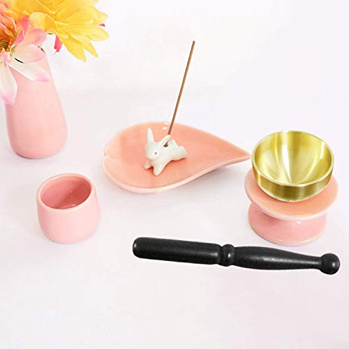 ペット仏具 6点セット ピンク おりん(こりん) ウサギ型 お線香立て ハート型 お香皿つき