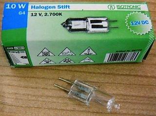 ISOTRONIC ~ Halogen Stift G4 / 10W / 12V DC - Energieeffizienzklasse: C / Lichtleistung: 120 Lumen