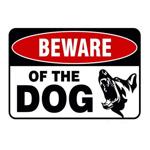 Coversolate Hund Schild/Metall Warnzeichen Hund, Achtung Hund/Warnschild Hundelogo, Door Signs Beware Guard Dog, Weatherproof, Home Deko (Braun)