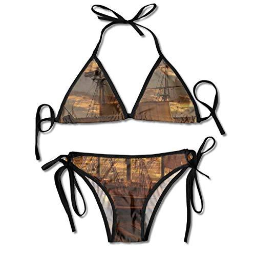 Conjuntos de Bikini para Mujer Impresos Negro del Barco Pirata de la fantasía, Traje de baño de la Playa del Traje de baño del triángulo