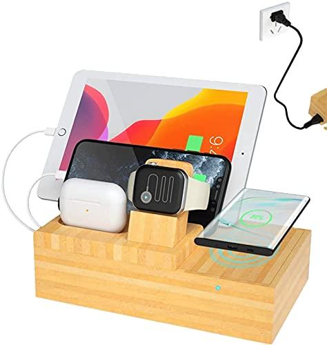 Kettles Estación de Carga de Cargador inalámbrico de Madera de bambú Compatible con múltiples Dispositivos/Dock de Carga for Apple Watch, Airpods Tablets/iPhone X/XS/XR/XS MAX / 8