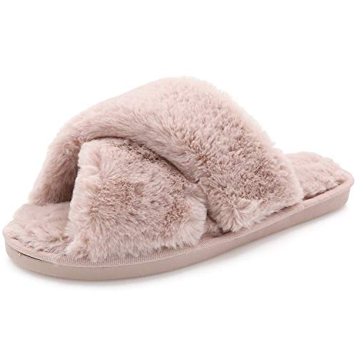 Womens Fuzzy Slippers Sandals Leopard Plush Open Toe Faux Fur Fluffy House Flats Slippers Cross Band Soft Warm Comfy Cozy Bedroom Slide Slippers (US 7.5-8.5, Light Pink)
