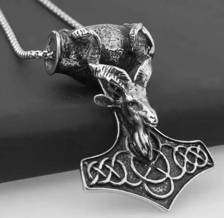 Pingente Em Aço Inox e corrente Baphomet Templário Demônio Viking Bode