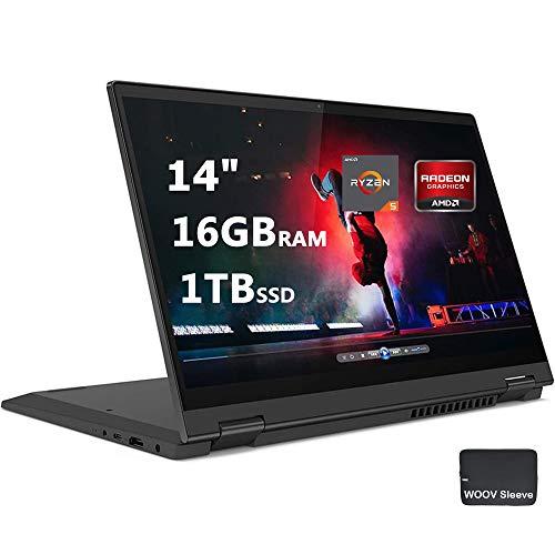 "Lenovo Flex 5 14"" 2-in-1 Laptop   FHD Touchscreen   6-Core AMD Ryzen 5 4500U   16GB DDR4 RAM, 1024GB PCIE SSD,   Digital Pen Included   Backlit Keyboard   Bundled with Woov Sleeve   Windows 10, Grey"