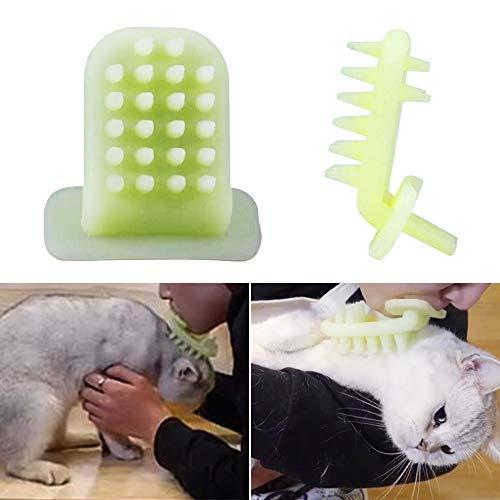 Urijk Katzenbürste Gelb Katze Kamm Massage Spielzeug Silikon Massagebürste für Kurzhaar Langhaar Katzen Badebürste Fellpflege Bürste 1 Stück