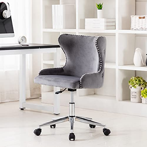 Hi&Yeah Velvet Button-Tufted Wingback Home Office Desk Chairs, Adjustable Height Upholstered Computer Swivel Chairs, Accent Task Chair with Nailhead Trims and Cushioned Arm, Dark Gray