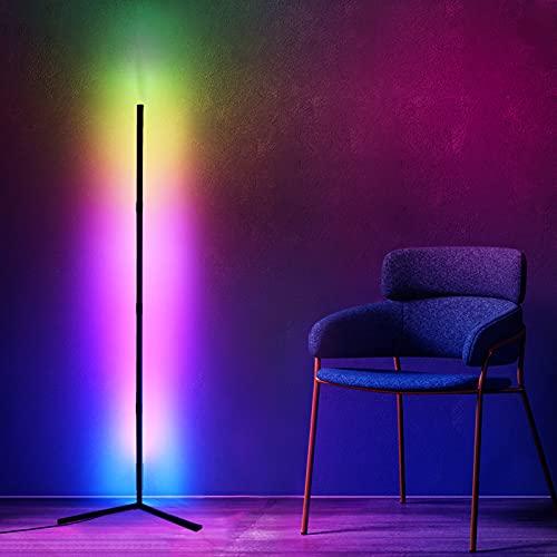 Lampada da Terra Angolare a LED, 20W Lampada da Terra, Lampada da Terra Moderne che Cambiano Colore RGB, Lampada da Terra Dimmerabile Con telecomando , Lampada Alte 51 ', Camera da Letto Soggiorno (B)