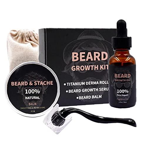 Tsikuxm Kit de Crecimiento de Barba Microneedle Suero Balm Microneedle Roller Cabello Facial Kit de Creciente Barba Atención Regalo para Hombres