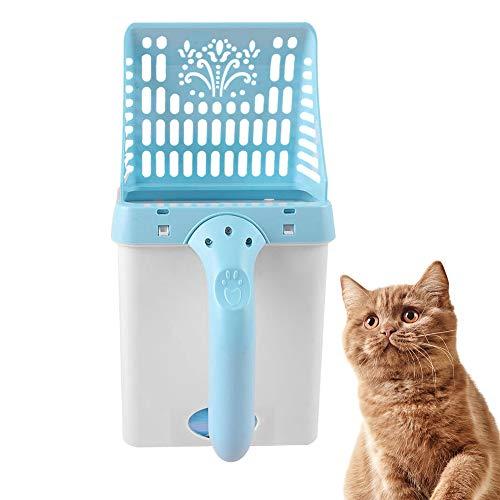 LWZko Pala para Gatos, Pala para Arena Gato, Pala Limpieza para Gatos, Pala Arena para Gatos Plástico, Plastico Portátil 2 En 1 Pala Arena para Gatos y Bote Basura para Limpiar Arena Gatos (Azul)