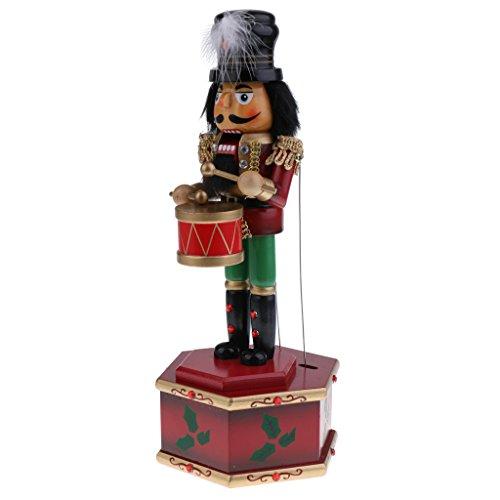 Homyl 32cm Nussknacker Figur Spieldose Spieluhr Musikdose für Weihnachten Dekoration - B
