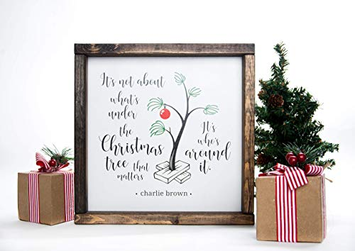 Christmas Sign Charlie Brown in Farmhouse Frame 12in x 12in