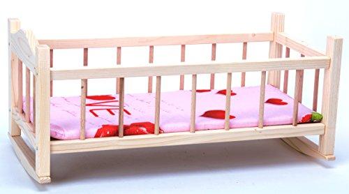 Direct Global Puppenbett aus Holz/ Holzschaukel Krippe für Puppen / Holzspielzeug / Puppen Krippe 53 cm / Puppenbett