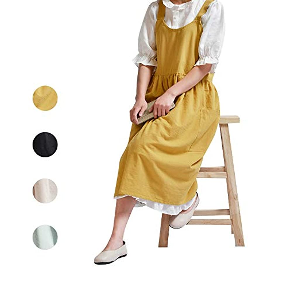NOOS Soft Cotton Linen Apron Solid Color Halter Cross Bandage Aprons Cooking Clothes Gift, Fashion Coffee Shop Waist Kitchen Aprons & Women Apron for Cooking,Maid Apron Baking, Gardening 32X43 Inch