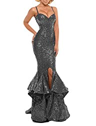 Grey Sequin Prom Gown Mermaid Bodycon Dress