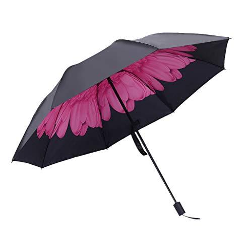 Regenschirm Kinder-Schwarz Leichte Regenschirm Inner mit Verschiedenen Blumen Muster Windproof Sturmfest, Taschenschirm Stabil gegen UV-Strahlung, Vinyl Umbrella Wasserfest