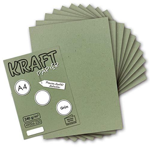 50x Vintage Kraftpapier in Grün - DIN A4 21 x 29,7 cm - 210 x 297 mm - 240 g/m² natur-Grünes Recycling-Papier, 100% ökologisch Bastel-Karton Einzel-Karte UmWelt by GUSTAV NEUSER®