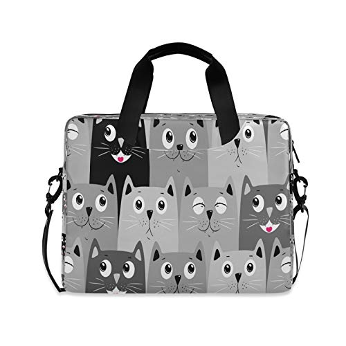 Cat Laptop Case Computer Bag Personalised with 3 Compartment Shoulder Strap Handle Canvas Notebook Perfect for Boys Girls