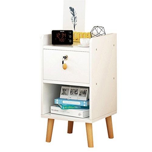 WYGG China-Möbel Nachttisch - weiß/schwarz MDF Produktion Locker Wohnzimmer Schlafzimmer Mini 1/2 Layer Space Lock Design Schublade [6 Arten und 4 Größen] /& (Farbe : E, größe : 35 * 39 * 53CM)