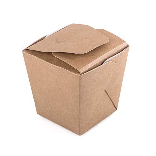 Paquete de 60 cajas de cartón kraft para fideos de 700 ml para comida rápida para llevar comida rápida desechable caja china a prueba de fugas reciclable (60, 700 ml)