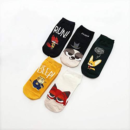 MIWNXM 10 Pares Men's Fashion Harajuku Print Cotton Socks Fun Animal Print Men's Ankle Socks Hip Hop Happy...