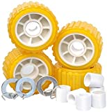 Tie Down Engineering 86144 5'' PVC Ribbed Wobble Roller Kit 4-Pk, Yellow, Standard