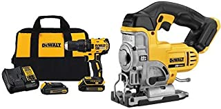 DEWALT DCD777C2 20V Max Lithium-Ion Brushless Compact Drill Driver with DCS331B 20-Volt MAX Li-Ion Jig Saw (Tool Only)