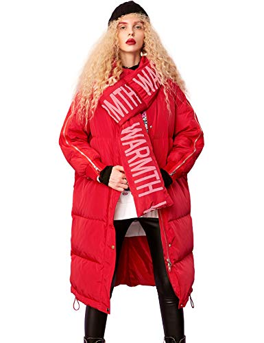 wintermantel lang damen rot