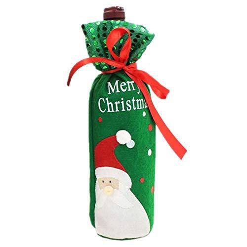 GAKIN 1 x Weinflaschen-Beutel, Weihnachtsmann-Flaschen, Weihnachtsbaum, für Dinner-Party-Dekoration.