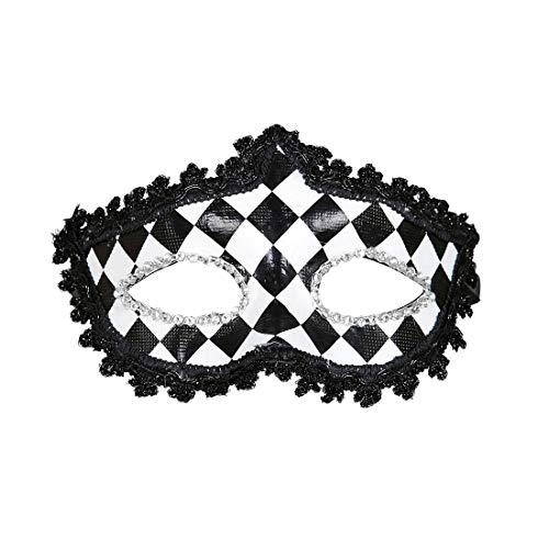 NET TOYS Máscara a Rombos Pierrot para Adulto - Negro-Blanco - Encantador Accesorio para Disfraz de Dama Antifaz arlequín - Insuperable para Bailes de máscaras y carnavales