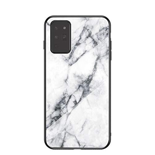 MadBee für Samsung Galaxy Note 20 Hülle [mit HD-Schutzfolie], Marmor Kratzfeste 9H Glas Back & TPU Silikon Rahmen und weichem Bumper Stoßabsorbierende Schutzhülle (Marmor 1)