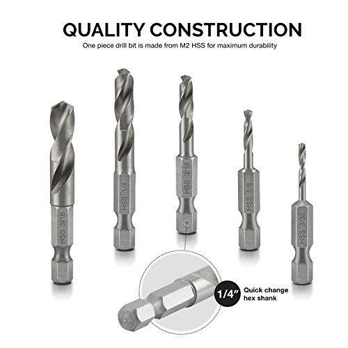 NEIKO 11402A Stubby Drill Bit Set for Metal, 5 Piece | 1/4 Inch Quick Change Hex Shank | M2 HSS Steel
