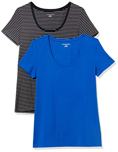 Amazon Essentials Paquete de 2 Camisetas de Manga Corta con Cuello Redondo, Cobalto/Rayas Negras, M, Pack de 2