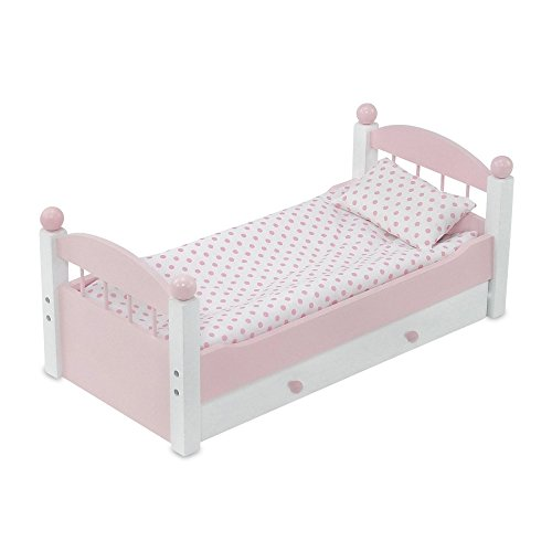 Emily Rose 18 Inch Doll Furniture Bed for American Girl Dolls | Stackable Doll Trundle Bed, Includes Doll Bedding and 18 Inch Doll Clothes Storage Drawer | Fits American Girl Dolls