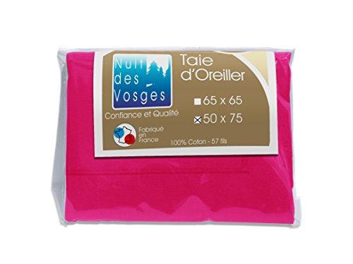 Nuit des Vosges 2099416 Cotoval Taie d'Oreiller Uni Coton Fuchsia 50 x 75 cm