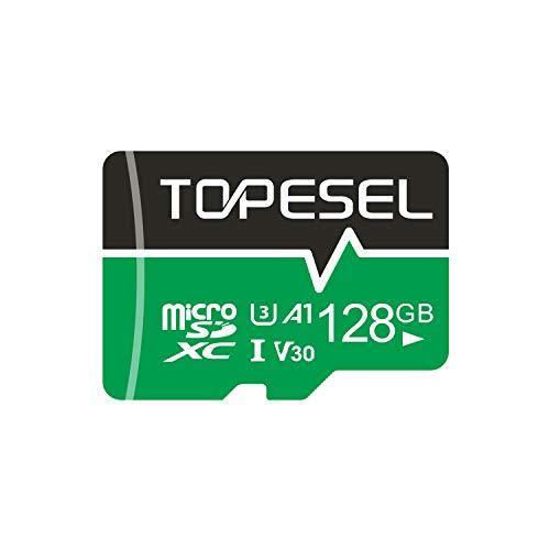 Micro SD Karte 128GB, TOPESEL SD-Karte MicroSD Speicherkarte SDXC High Speed bis zu 85 MB/s Micro SD Memory Card U3, V30, A1 Mini TF Karte für Handy Samsung Huawei, Blau