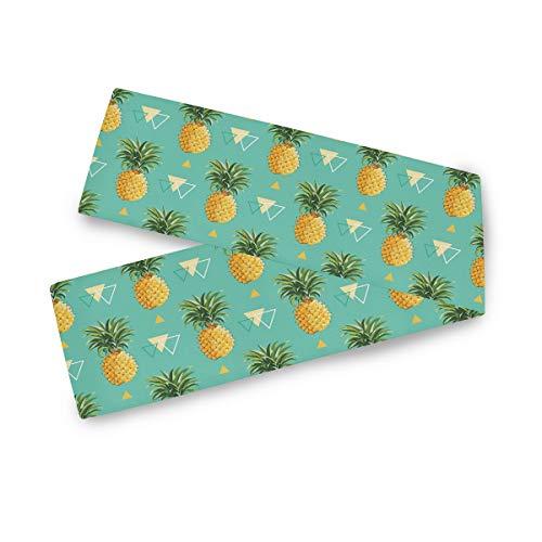 F17 - Camino de mesa rectangular con diseño geométrico tropical de piña y fruta de 33 x 177 cm, poliéster para decoración de bodas, cocina, fiestas, banquetes, comedores, mesas de centro
