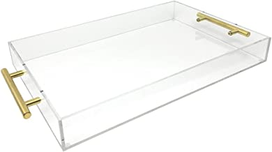 Isaac Jacobs Clear Acrylic Tray with Handle (11x17, Clear with Gold Handle)