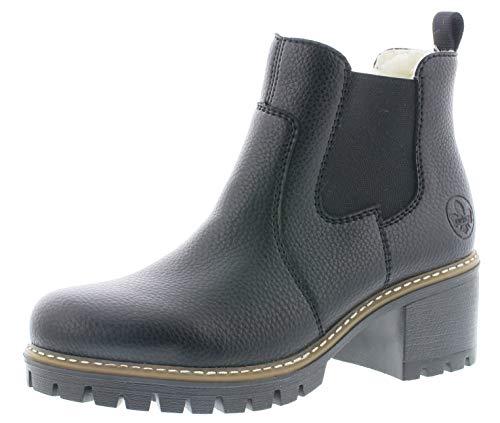 Rieker Damen Stiefeletten Y8650, Frauen Chelsea Boots, Winterstiefeletten weibliche Lady Ladies feminin elegant Women's,schwarz,37 EU / 4 UK