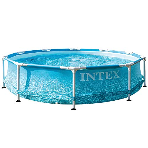 INTEX 55240 - Piscina desmontable redonda, piscina Metal Frame, medidas Ø305x76 cm, 4.485 litros, diseño fotorrealista del fondo marino, 55240