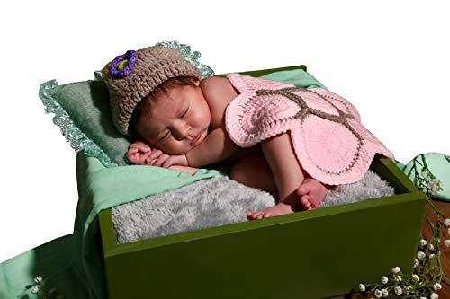 Conjunto de pantalón y gorro para bebé, hecho de ganchillo e ideal para sesiones de fotos tortuga rosa Talla:Nouveau-né