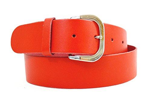 flevado Kabana Rote Leder Gürtel Unisex Ledergürtel 4 cm Breit (105 BW = 120 cm Länge)