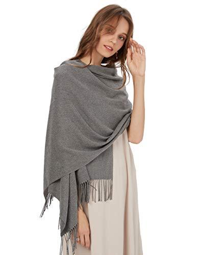 MaaMgic Womens Large Soft Cashmere Feel Pashmina Shawls Wraps Winter Light Scarf, One Size, Dark Gray