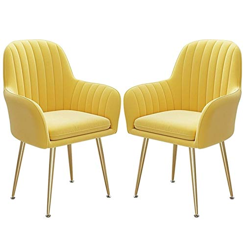 2PCS Dining Chairs Sturdy Golden Steel Legs Leisure Armchair Thick Fabric Upholstered Seat Counter Lounge Living Room Corner Chair (Color : Yellow)