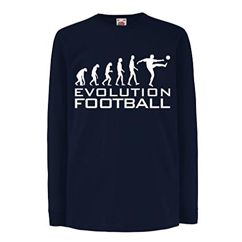 lepni.me Camiseta para Niño/Niña La evolución del fútbol - Camiseta de fanático del Equipo de fútbol de la Copa Mundial (7-8 Years Azul Blanco)