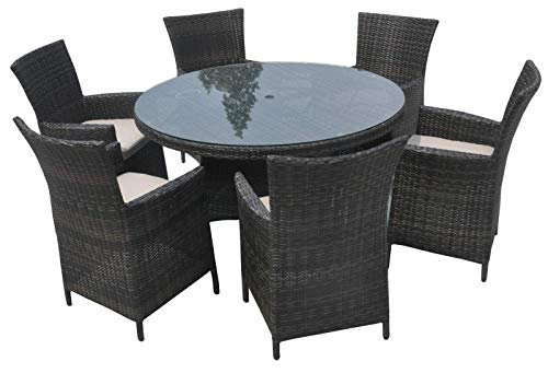 Rattan Outdoor Furniture Large Round Rattan Patio Dining Set - Mix Brown 135cm Round Table with 6 Seater